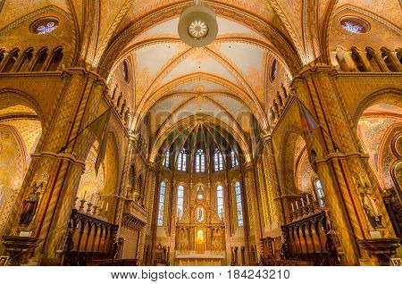 Interior Of Matthias Church In Budapest, Hungary