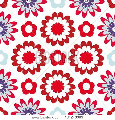 Beautiful flower blossoms on a white background. Bright floral pattern. Seamless vector background with fabulous flowers for printing on fabric paper gift wrapper household goods interior.