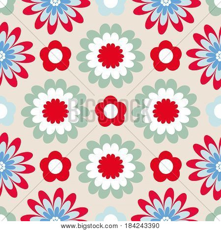 Bright floral pattern. Seamless vector background with fabulous flowers for printing on fabric paper gift wrapper household goods interior. Beautiful flower buds on a white background