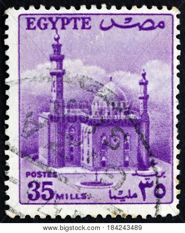 EGYPT - CIRCA 1955: a stamp printed in Egypt shows Sultan Hassan's Mosque circa 1955