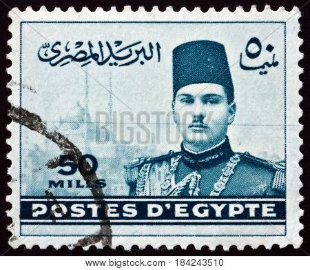 EGYPT - CIRCA 1939: a stamp printed in Egypt shows King Farouk and Cairo Citadel circa 1939