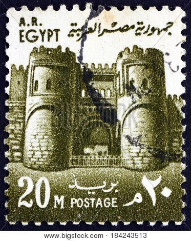 EGYPT - CIRCA 1967: a stamp printed in Egypt shows Mitwalli Gate Cairo circa 1967