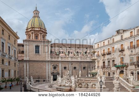 Square Of Shame, Famous Place In The Center Of The Historic City Of Palermo