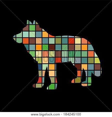 Wolf predator color silhouette animal. Vector Illustrator.