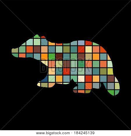 Badger mammal color silhouette animal. Vector Illustrator.