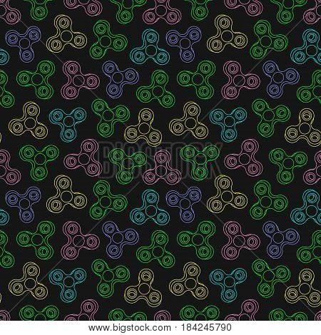 Hand Spinners Seamless pattern. Vector illustration on black background
