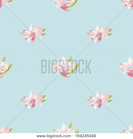 Seamless bright background with orchids. Beautiful floral pattern for print on textile fabric Wallpaper wrapping scrapbooking decoupage. Vector illustration with exotic flowers. Tropical ornament
