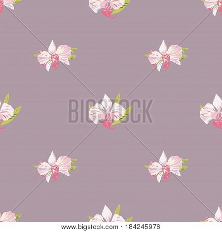 Seamless background with orchids. Beautiful floral pattern for print on textile fabric Wallpaper wrapping scrapbooking decoupage. Vector illustration with exotic flowers. Tropical ornament