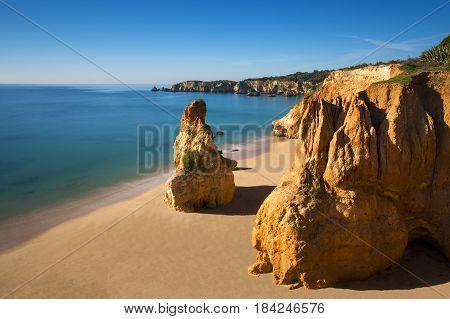 View of the Vau Beach (Praia do Vau) in Portimao Algarve Portugal; Concept for travel in Portugal and Algarve