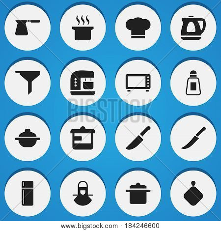 Set Of 16 Editable Cook Icons. Includes Symbols Such As Saltshaker, Rocker Blade, Mixer And More. Can Be Used For Web, Mobile, UI And Infographic Design.