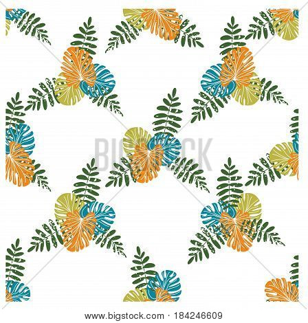 Tropical seamless pattern with palm leaves and monstera. Vector illustration. Summer background for printing on fabric paper stationery upholstery lining textiles bedding decor apparel