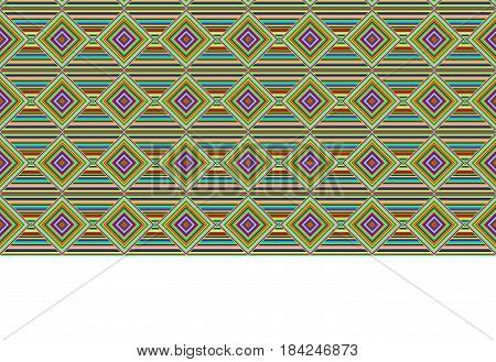 Seamless geometric texture and border, bright stripes. Swatch and pattern brush are included in vector file.