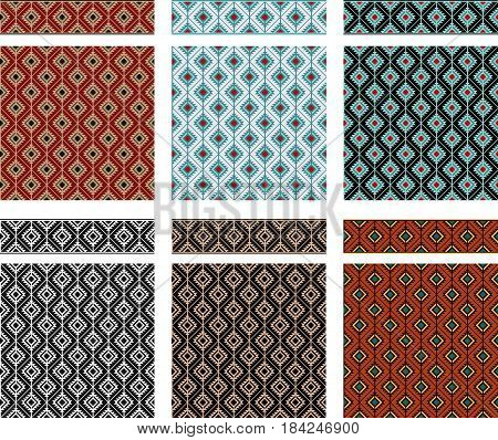 Set of seamless geometric textures and borders, American Indians tribal style. Swatches and pattern brushes included in vector file.
