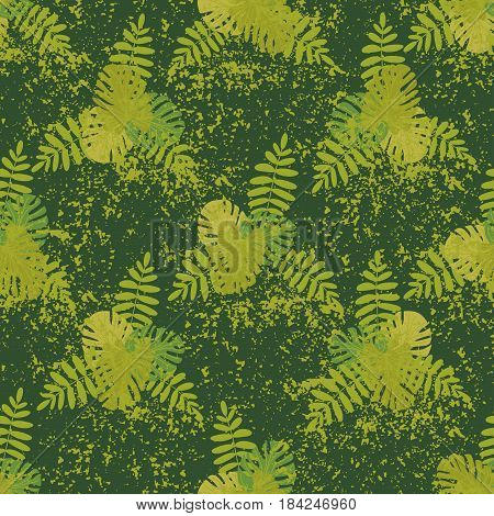 Tropical seamless pattern with palm leaves and monstera Vector illustration Summer background for printing on fabric paper stationery upholstery textiles bedding apparel Vintage retro style