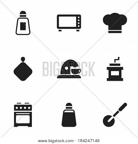 Set Of 9 Editable Food Icons. Includes Symbols Such As Paprika, Oven, Cook Cap And More. Can Be Used For Web, Mobile, UI And Infographic Design.