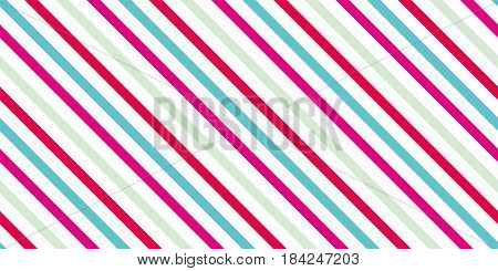 Background with a slanted diagonal stripes lines. Blue green red and pink color. Vector illustration. Geometric background print on paperfabric gift wrap packaging bedding lining