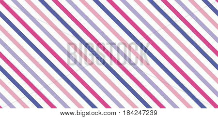Background with a slanted diagonal stripes lines. Different shades of blue and pink. Vector illustration. Geometric background print on paperfabric gift wrap packaging bedding lining apparel