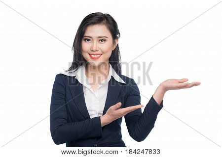 Portrait Of An Attractive Young Businesswoman Showing By Hands Isolated On White.