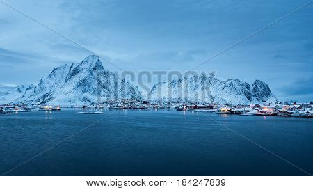 Reine fishing village in the Lofoten islands in winter
