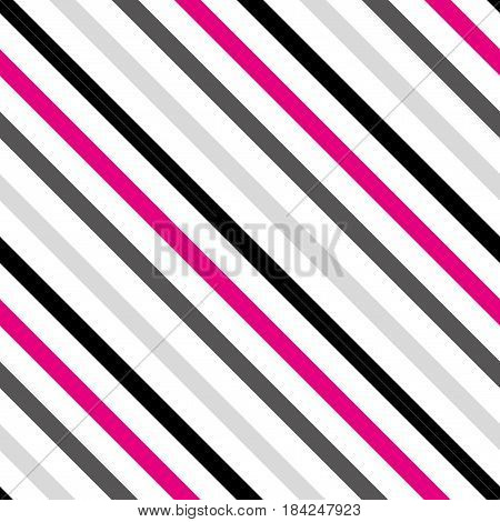 Background with a slanted diagonal stripes lines. Different shades of black and pink. Vector illustration. Geometric background print on paperfabric gift wrap packaging bedding lining apparel