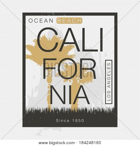 Los Angeles California t-shirt graphics. Vintage typography t-shirt graphics poster banner textile apparel. Vector