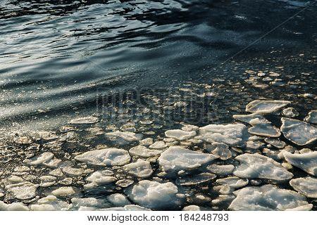 Ice Drift Melting At Daytime. Spring Background