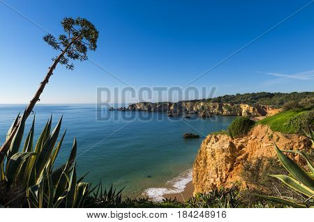 View of the Alemao Beach (Praia do Alemao) in Portimao Algarve Portugal; Concept for travel in Portugal and Algarve