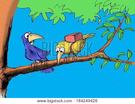 Cartoon illustration of one bird dismayed the other bird is afraid to fly.