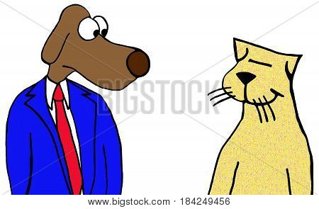 Cartoon illustration of a dog and cat staring at each other.