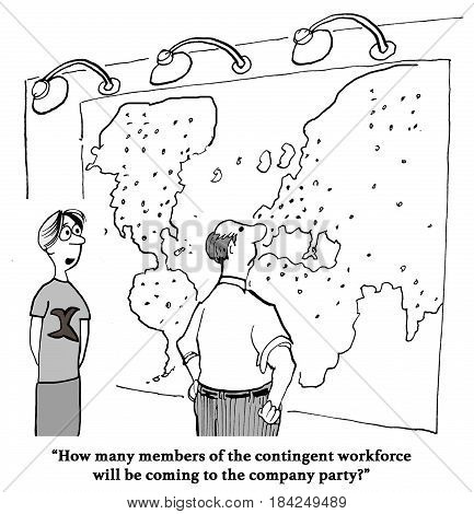 Business cartoon about an international contingent workforce, will they attend the party?