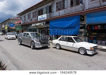 Kudat, Sabah Malaysia - April 22, 2017: Old Shops Building And Street View Of Kudat, A Quiet Town Ne