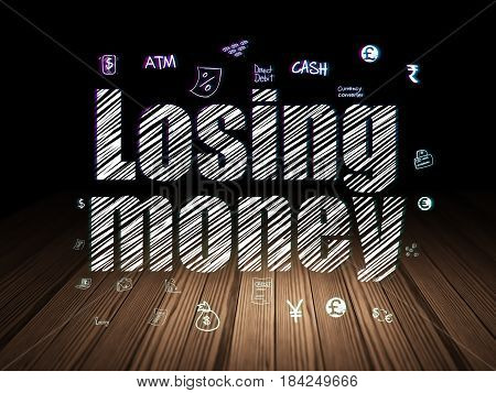 Money concept: Glowing text Losing Money,  Hand Drawn Finance Icons in grunge dark room with Wooden Floor, black background