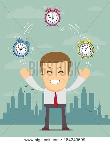 Businessman juggling with alarm clocks, symbolizing time management. Stock vector illustration for poster, greeting card, website, ad, business presentation, advertisement design.