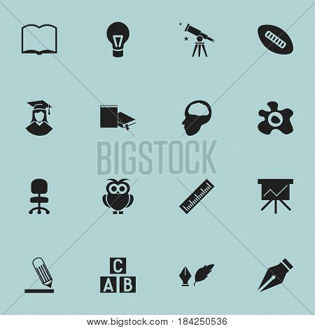 Set Of 16 Editable Education Icons. Includes Symbols Such As Cerebrum, Work Seat, Writing And More. Can Be Used For Web, Mobile, UI And Infographic Design.
