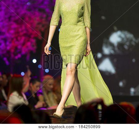Fashion Show Runway Beautiful Green Dress
