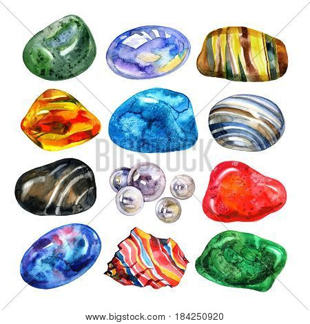 Watercolor semiprecious stones set. Bright watercolor multicolored crystal stones and rocks on white background.