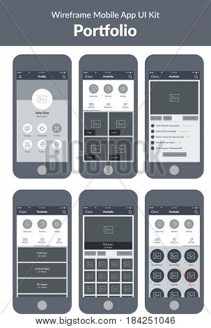Wireframe UI kit for mobile phone. Mobile App.