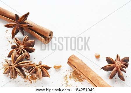 Anise Star With Cinnamon Stick Background