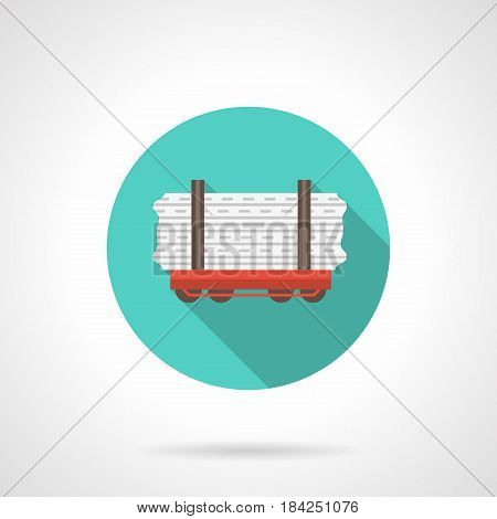 Symbol of red open platform with long cargo. Rail cars for railway carriage. Round flat design blue vector icon.