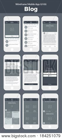 Mobile App. Wireframe UI kit for mobile phone. Blog, articles, channel, feed, news and share screens.