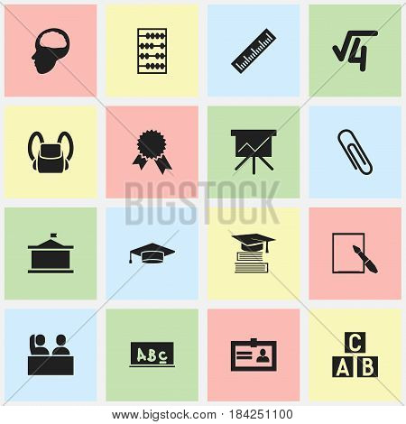 Set Of 16 Editable Education Icons. Includes Symbols Such As Schoolbag, Certification, Straightedge And More. Can Be Used For Web, Mobile, UI And Infographic Design.