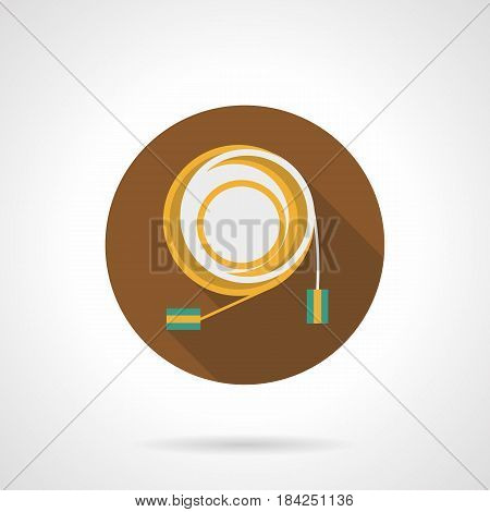 Symbol of collapsed audio cable with connectors. Sound equipment for stage and studio. Round flat design vector icon.