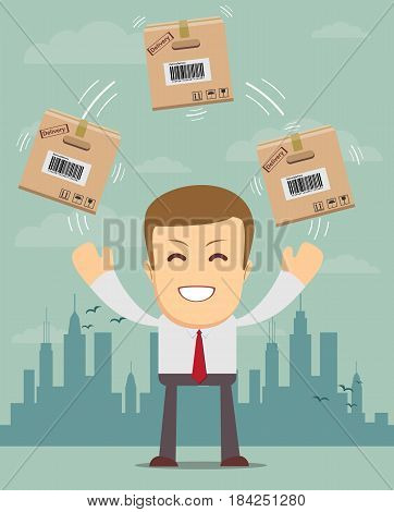 delivery service man with box vector illustration isolated on white background. smiling cartoon businessman juggling with cardboard box.