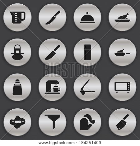 Set Of 16 Editable Meal Icons. Includes Symbols Such As Crusher, Fried Chicken, Backsword And More. Can Be Used For Web, Mobile, UI And Infographic Design.