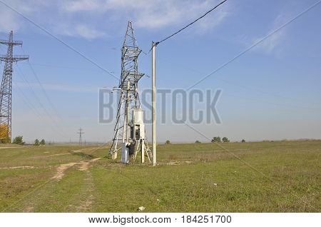 High voltage power of electric transformer substation.