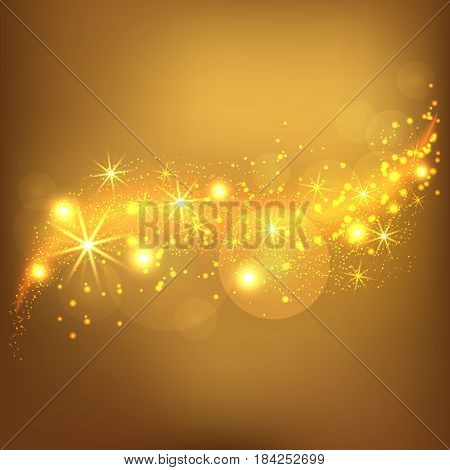 Gold stars wave abstract background. Vector golden dust texture. Twinkling confetti shimmering star lights.