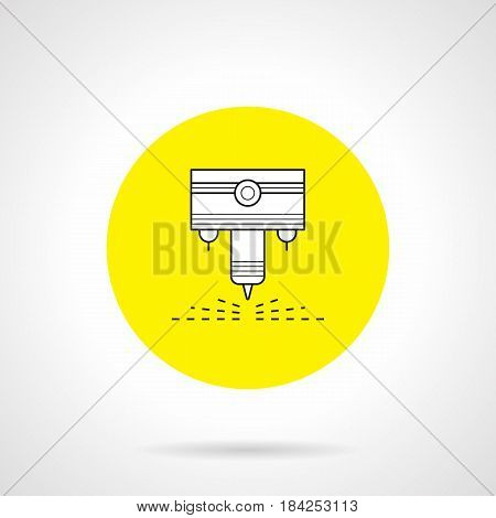 Outline symbol of laser for CNC welding machine. Industrial technology for metalworking and automotive. Round flat design yellow vector icon.