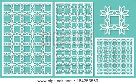 Set of decorative panels laser cutting. Mosaic geometric pattern. The ratio of 2: 3, 1: 2, 1: 1, seamless. Vector illustration.