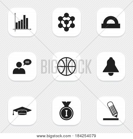 Set Of 9 Editable School Icons. Includes Symbols Such As Graduate, Thinking Man, First Place And More. Can Be Used For Web, Mobile, UI And Infographic Design.
