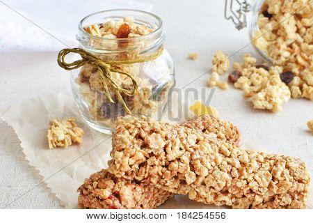 Muesli Bars With Fruit Crunchy